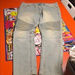 Light Wash Men Stacked Skinny Jeans